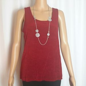 Chico's Travelers Scoop Neck Tank Top Red Size 2